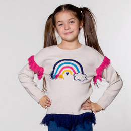 Deux Par Deux  Unicorns & Rainbows Knitted Sweater - Oatmeal