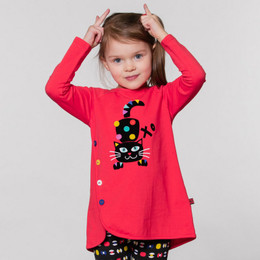 Deux Par Deux  Pom Pom Girls Knit Tunic - Poinsettia