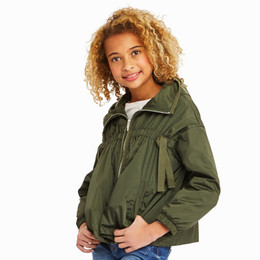 Habitual Girl  Rayne Lightweight Nylon Jacket - Dark Green