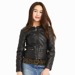 Habitual Girl  Jade Faux Leather Quilted Jacket - Black