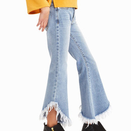 Habitual Girl  Isabelle Frayed Hem Jean - Medium Stone