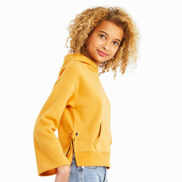 Habitual Girl  Skylar Fleece Hoodie w/Ties - Gold