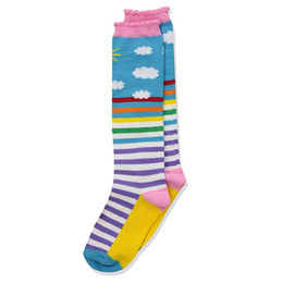 Jefferies Socks Rainbow Knee High Socks - Sun & Clouds