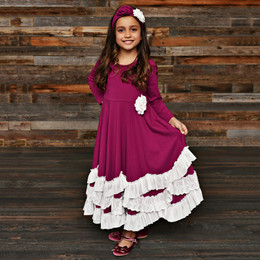 Serendipity Clothing Sugar Plum 3pc Maxi Dress w/Rosette Clip & Headband - Plum
