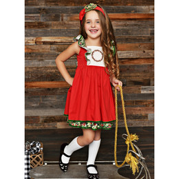Serendipity Clothing Winter Berry 2pc Pinafore Dress & Headband