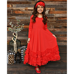 Serendipity Clothing Winter Berry 3pc Maxi Dress w/Rosette Clip & Headband - Red