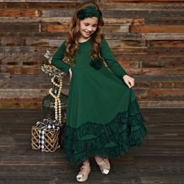 Serendipity Clothing Winter Berry 3pc Maxi Dress w/Rosette Clip & Headband - Hunter Green