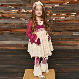 Serendipity Clothing Sugar Plum 3pc Lace Pocket Dress, Lace Trim Stripe Legging, & Headband
