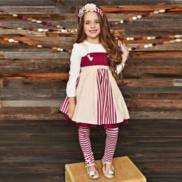 Serendipity Clothing Sugar Plum 4pc Knot Tunic, Top, Stripe Legging, & Headband