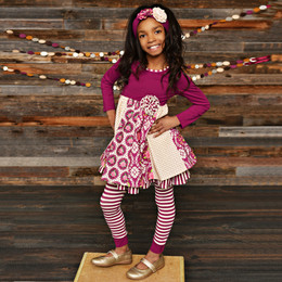 Serendipity Clothing Sugar Plum 3pc Ruffle Panel Dress, Stripe Legging, & Headband
