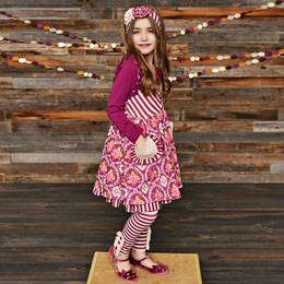 Serendipity Clothing Sugar Plum 3pc Ruffle Pocket Dress, Stripe Legging, & Headband