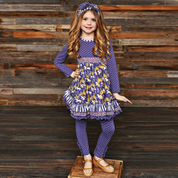 Serendipity Clothing Unicorn Meadow 3pc Tiered Ruffle Dress, Dot Legging, & Headband