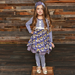 Serendipity Clothing Unicorn Meadow 3pc Ruffle Bustle Dress, Stripe Legging, & Headband