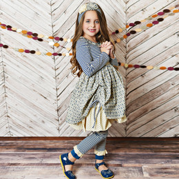 Serendipity Clothing Into The Woods 3pc Ruffle Bustle Dress, Stripe Legging, & Headband