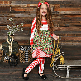 Serendipity Clothing Winter Berry 3pc Stripe Bustle Dress, Stripe Legging, & Headband