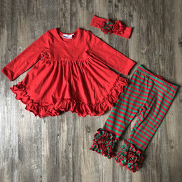 Serendipity Clothing 3pc Ruffle Swing Top, Stripe Legging, & Headband  - Red & Green