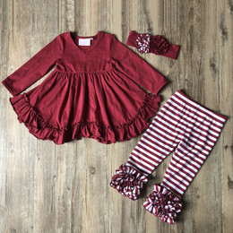 Serendipity Clothing 3pc Ruffle Swing Top, Stripe Legging, & Headband  - Plum