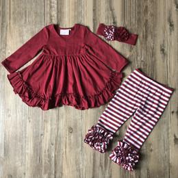 Serendipity Clothing 3pc Ruffle Swing Top, Stripe Legging, & Headband  - Plum
