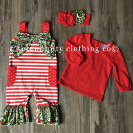 Serendipity Clothing Winter Berry 3pc Bow Longall, Red Top, & Headband