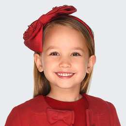 Mayoral  Beaded Ribbon Bow Headband - Red