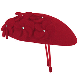 Mayoral  Beaded Floral Hat - Red