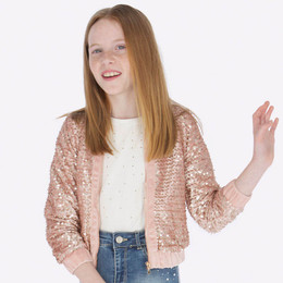 Mayoral  Sequin Bomber Jacket - Rosegold Crystal