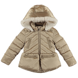 Mayoral Puffer Coat w/Removable Faux Fur Hood - Golden