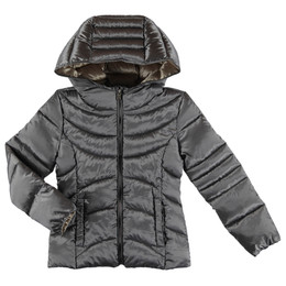 Mayoral  Hooded Lightweight Puffer Coat - Silver/Gold