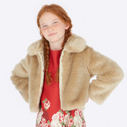 Mayoral  Glitter Faux Fur Coat - Beige