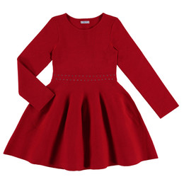 Mayoral  Beaded Tricot Dress - Red