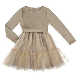 Mayoral  Velvet Dress w/Glitter Tulle - Beige
