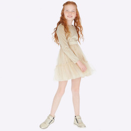 Mayoral Velvet Dress w/Glitter Tulle - Beige