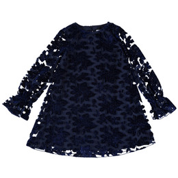 Mayoral  Velvet Flowery Dress - Navy