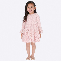 Mayoral Velvet Flowery Dress - Nude Pink