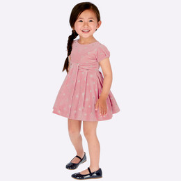 Mayoral Velvet Glitter Polka Dot Dress - Nude Pink