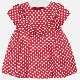 Mayoral  Jacquard Dot Dress w/Bow - Scarlet