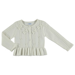 Mayoral Knit Cardigan Sweater w/Bows - Natural