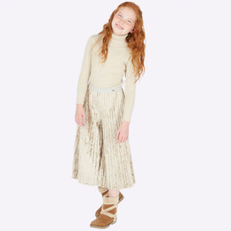 Mayoral  Velvet Shimmer Pleated Pants - Beige
