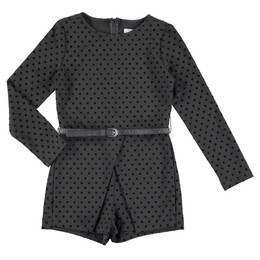 Mayoral  Polka Dot Romper w/Belt - Black