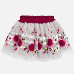 Mayoral Floral Border Tulle Skirt - Red