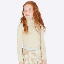 Mayoral Glitter Knitted Turtleneck - Beige Lure