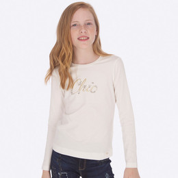 Mayoral  Chic Beaded Tee - Natural