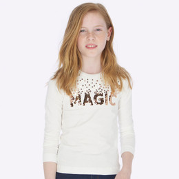Mayoral  Magic Sequin Tee - Natural / Rosegold