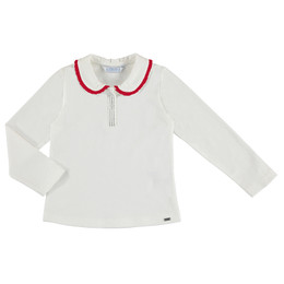 Mayoral  Collared Top w/Beaded Accent - Natural / Red