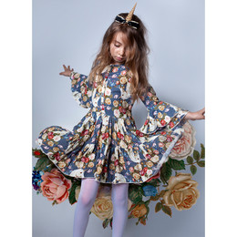 Paper Wings Bell Sleeve Frilled Dress - Rose Unicorn Blue