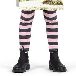 Paper Wings Classic Legging - Pink/Charcoal Stripe