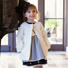 Evie's Closet   Coat w/Eyelet Trim Sleeves - Ivory