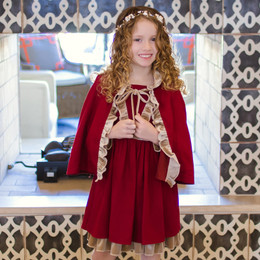 Evie's Closet Red & Gold Trim 2pc Dress & Cape Set