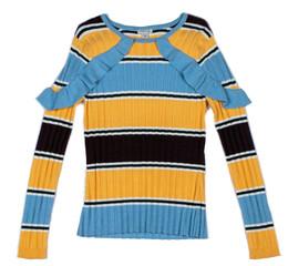 Habitual Girl  Rylee Stripe Ruffle Sweater - Multi