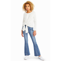 Habitual Girl  Hadley Screenprint Flare Denim Jean - Stripe